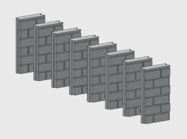 Block Wall - Jointed Filler Sections in White Natural Versatile Plastic: 1:87 - HO