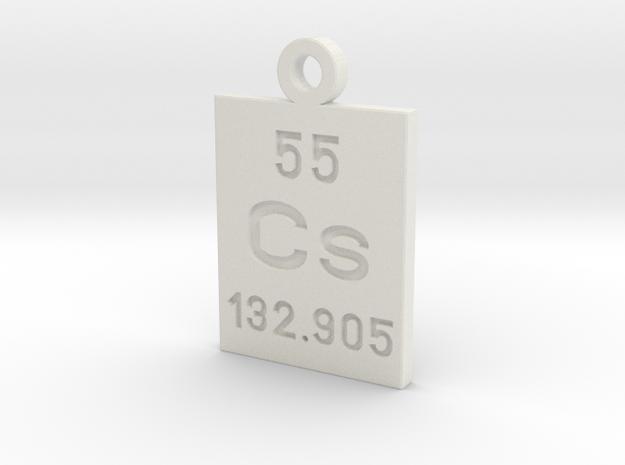 Cs Periodic Pendant in White Natural Versatile Plastic