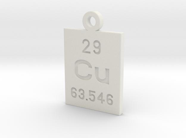 Cu Periodic Pendant in White Natural Versatile Plastic
