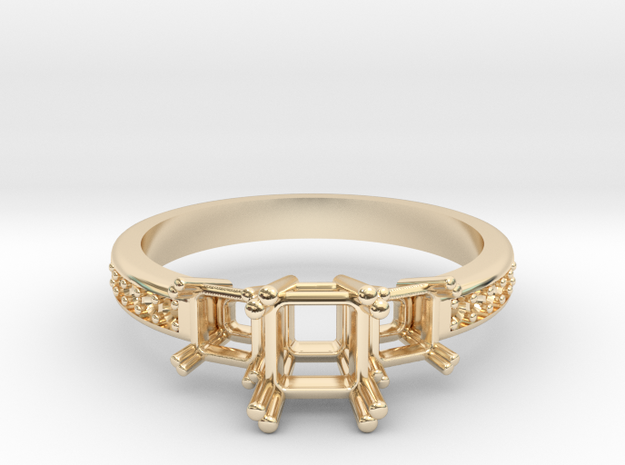 3 Princess Cut Center Stone Engagement Ring  in 14K Yellow Gold