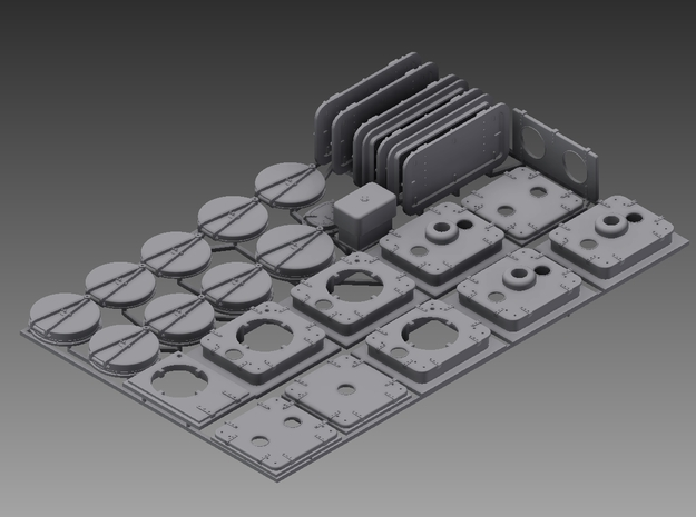 Hatch and water tight door set for P boat 1/48 in Smooth Fine Detail Plastic