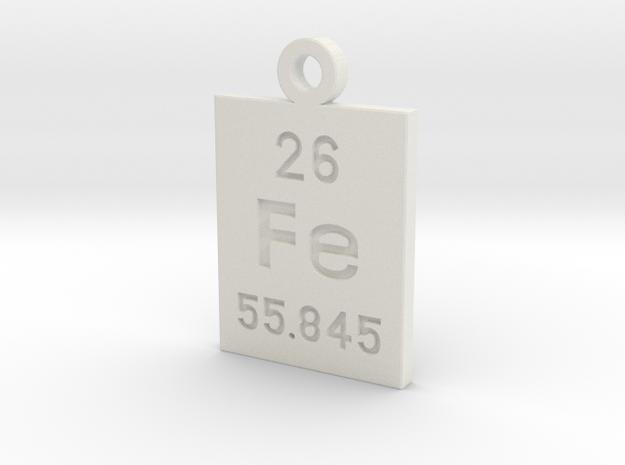 Fe Periodic Pendant in White Natural Versatile Plastic