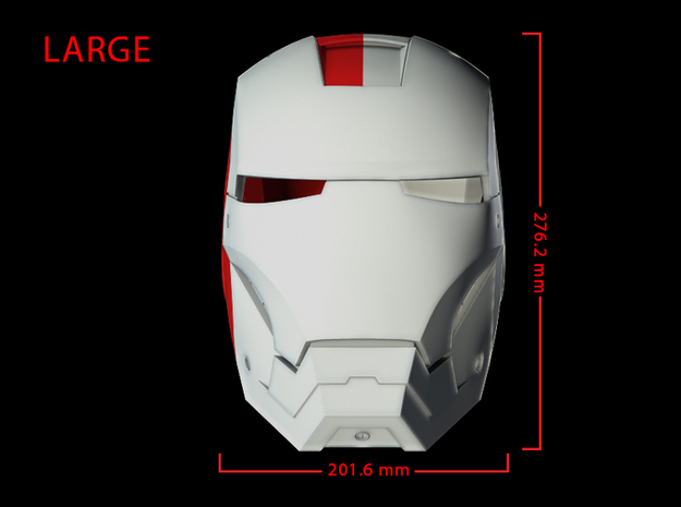 Iron Man Helmet - Head Right Side (Large) 1 of 4 3d printed CG Render (Front measurements, Head Right with Full Helmet)