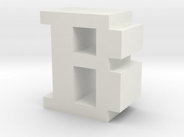 """B"" inch size NES style pixel art font block in White Natural Versatile Plastic"