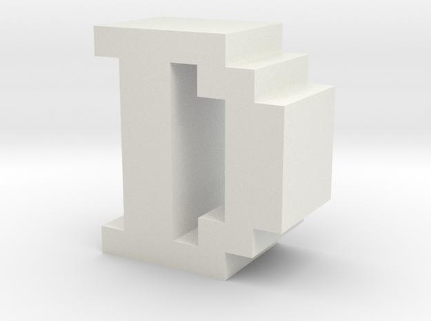 """D"" inch size NES style pixel art font block in White Natural Versatile Plastic"
