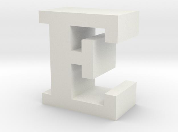 """E"" inch size NES style pixel art font block in White Natural Versatile Plastic"