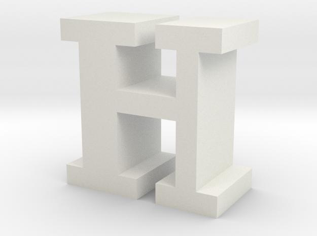 """H"" inch size NES style pixel art font block in White Natural Versatile Plastic"