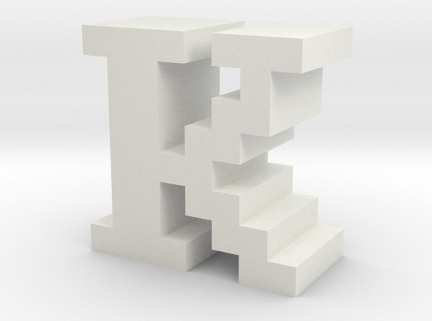 """K"" inch size NES style pixel art font block in White Natural Versatile Plastic"