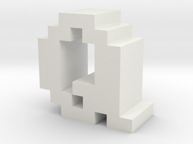 """Q"" inch size NES style pixel art font block in White Natural Versatile Plastic"