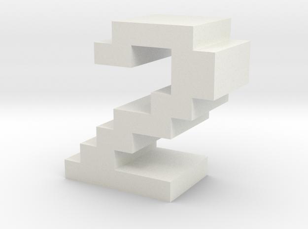 """2"" inch size NES style pixel art font block in White Natural Versatile Plastic"