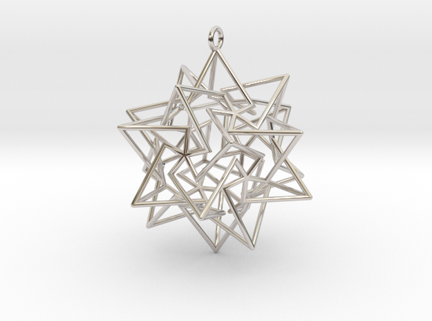 Star Dodecahedron Pendant in Rhodium Plated Brass