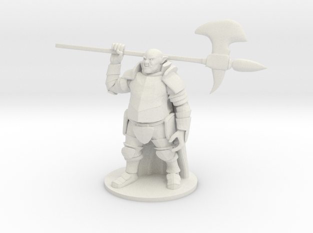 Ogre in Plate Armor with  Halberd in White Natural Versatile Plastic