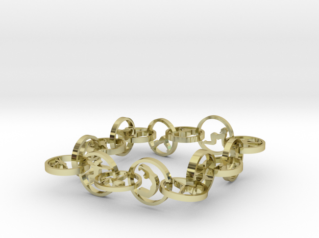bracelet with 16 yoga poses (6) in 18k Gold Plated Brass