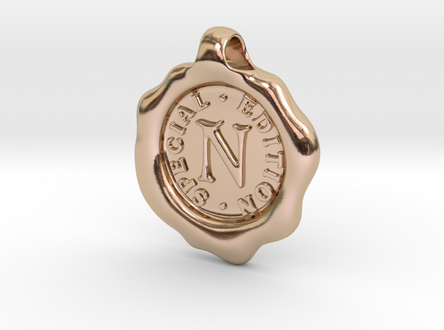 Seal Pendant N in 14k Rose Gold Plated Brass
