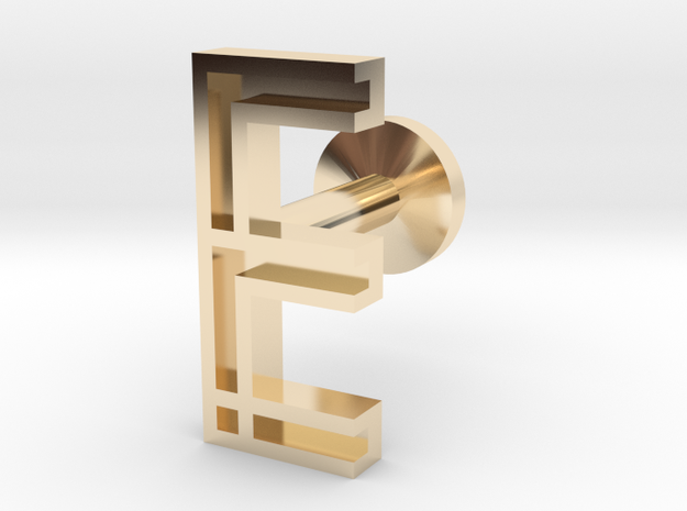 Letter E in 14k Gold Plated Brass