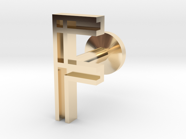 Letter F in 14k Gold Plated Brass