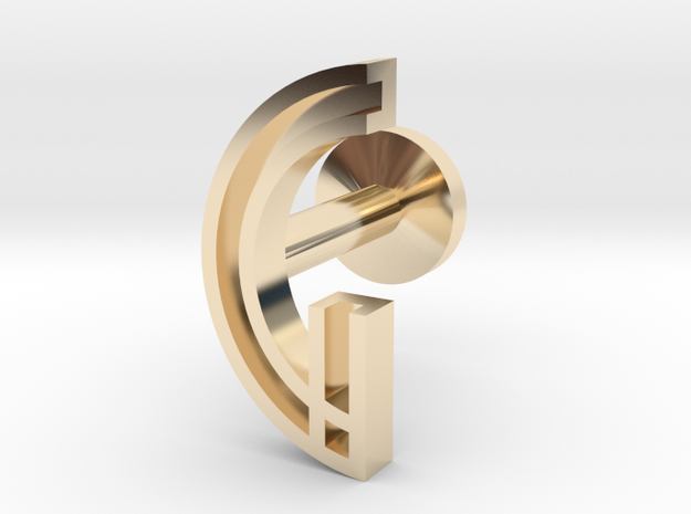 Letter G in 14k Gold Plated Brass