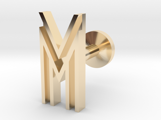 Letter M / W in 14k Gold Plated Brass