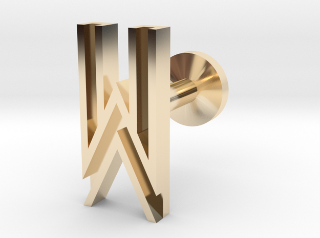 Letter W in 14k Gold Plated Brass