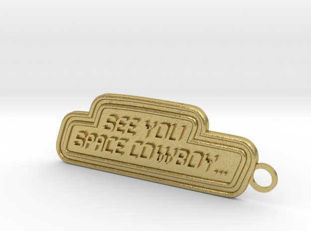 Space Cowboy Keychain in Natural Brass