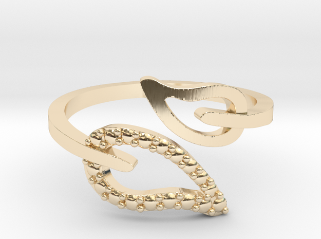 Adjustable Leaf Ring  in 14K Yellow Gold