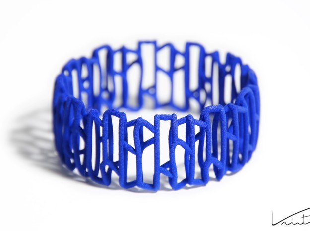 Modern patterned bracelet in Blue Processed Versatile Plastic: Small