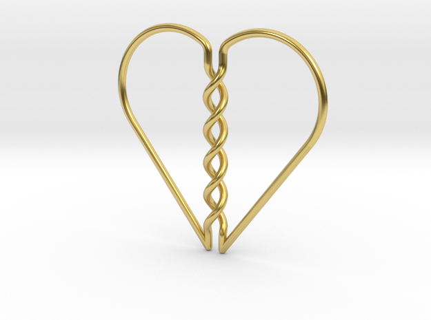 Tangled Heart Pendant (No Holes) in Polished Brass