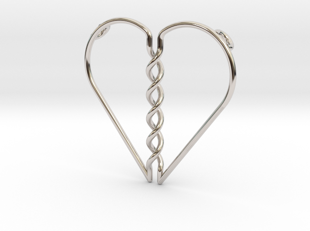 Tangled Heart Pendant (Two Holes) in Rhodium Plated Brass