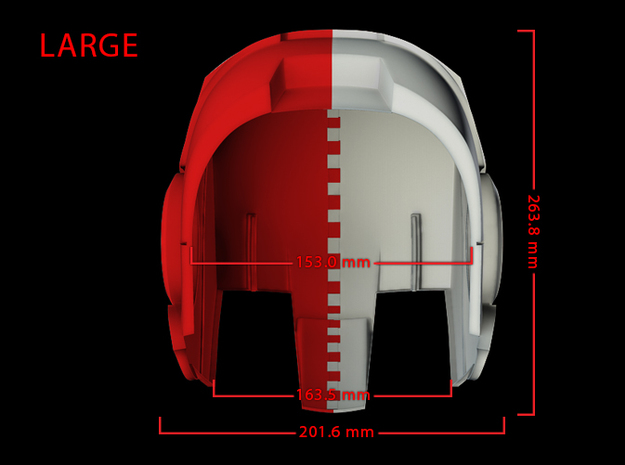 Iron Man Helmet - Head Left Side (Large) 2 of 4 3d printed CG Render (Bottom measurements, Head Left with Head Right)