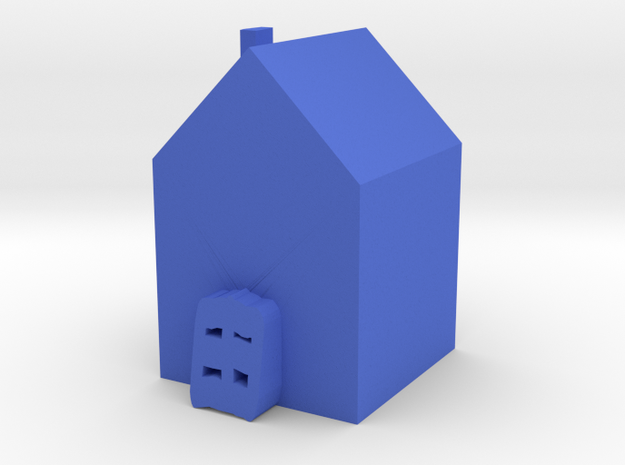 Tiny House in Blue Processed Versatile Plastic