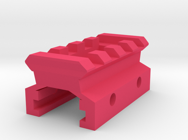 Nerf Rail to Picatinny Rail Adapter (4 Slots) in Pink Processed Versatile Plastic