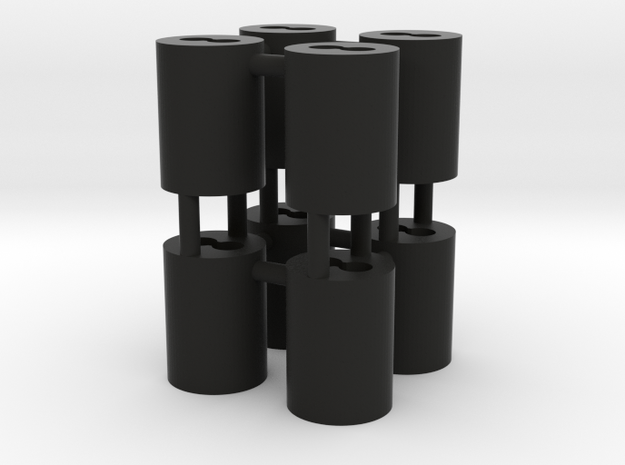 1:8 BTTF DeLorean cylinders for fiber optics in Black Natural Versatile Plastic