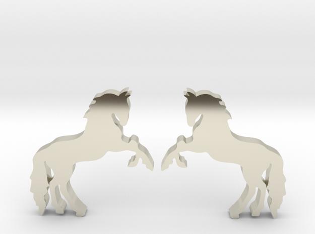 Horse Stud Earrings in 14k White Gold