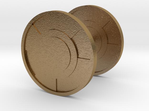 Round Cufflink in Polished Gold Steel