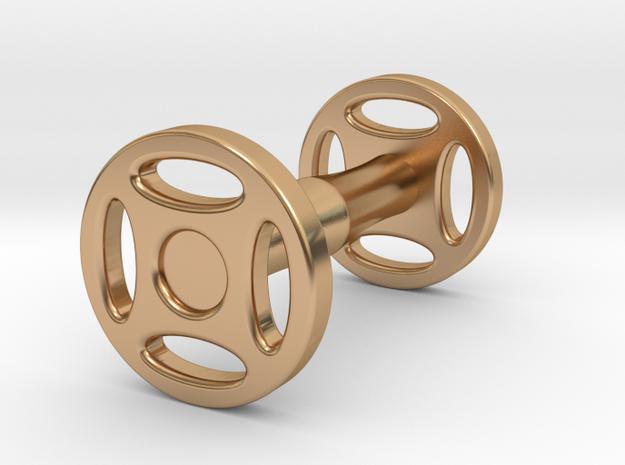 Wheeled Cufflink in Polished Bronze