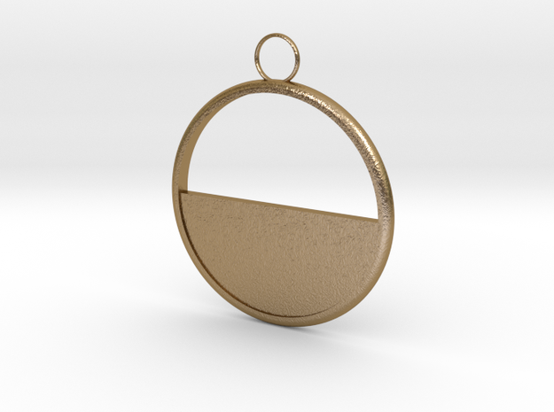 Round Earring in Polished Gold Steel