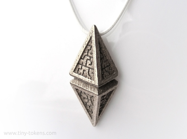 Hedron Pendant (v1) in Polished Bronzed-Silver Steel: Small