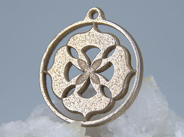 Lotus Pendant II in Polished Bronzed Silver Steel