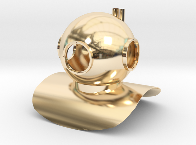 Mark 6 Diving Helmet Small Toy Statue in 14K Yellow Gold