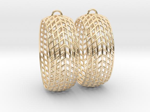 Mesh Grid Oval Hoop Earrings in 14k Gold Plated Brass