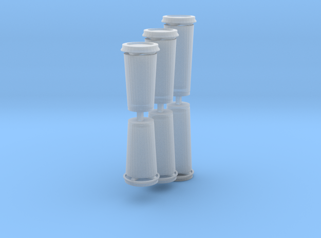 Disposable coffee cups 1:12th- hollow, with lids in Smooth Fine Detail Plastic