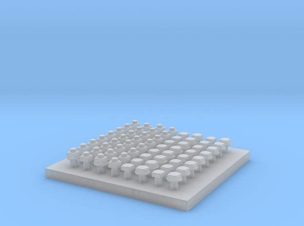 Square Nut Set 1:20.3 scale in Smooth Fine Detail Plastic