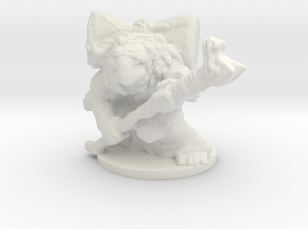 Troll Shaman 1/60 miniature for games and rpg in White Natural Versatile Plastic