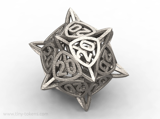 Center Arc All 20's version - Novelty D20 dice in Polished Bronzed-Silver Steel
