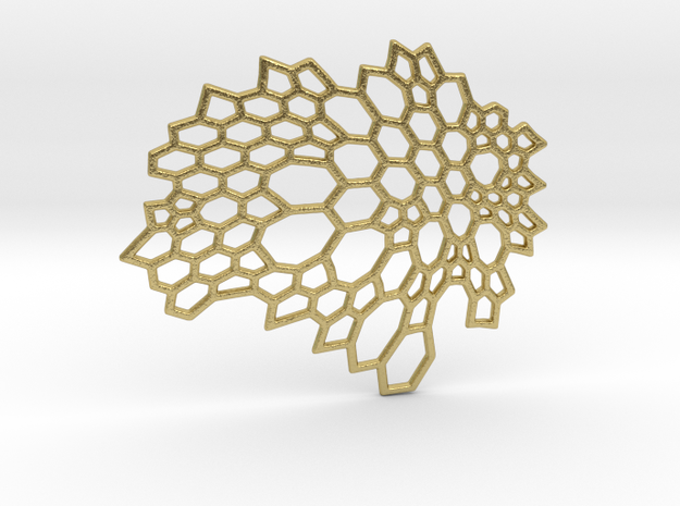 BEEHIVE BROOCH_ 024_1.5 in Natural Brass