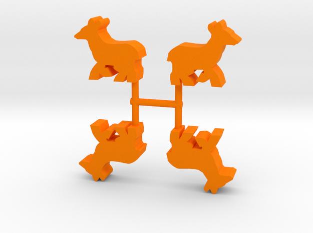 Deer Doe Meeple, running, 4-set in Orange Processed Versatile Plastic