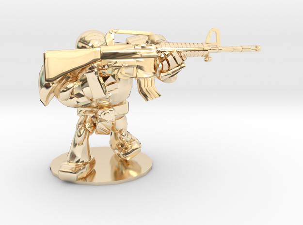 CYBORG1 ASSAULT_RIFLE M16A2 in 14k Gold Plated Brass