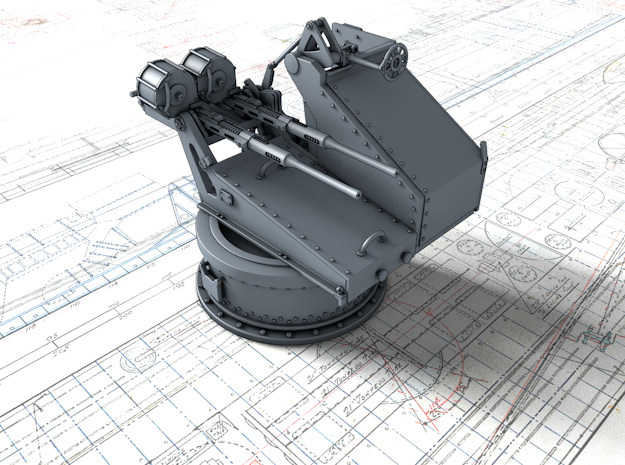 1/56 Twin 20mm Oerlikon Powered MKV Mount in Smooth Fine Detail Plastic