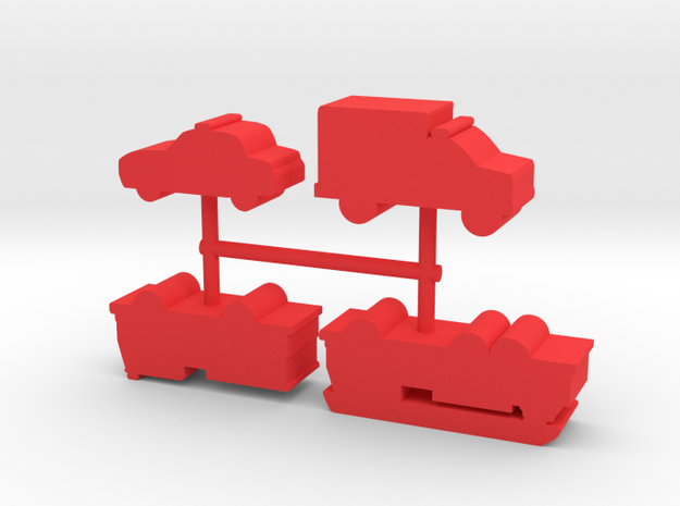 Rescue Vehicle Meeples, mixed, 4-set in Red Processed Versatile Plastic