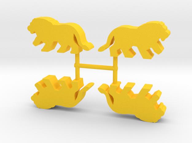 Lion Meeple, running, 4-set in Yellow Processed Versatile Plastic